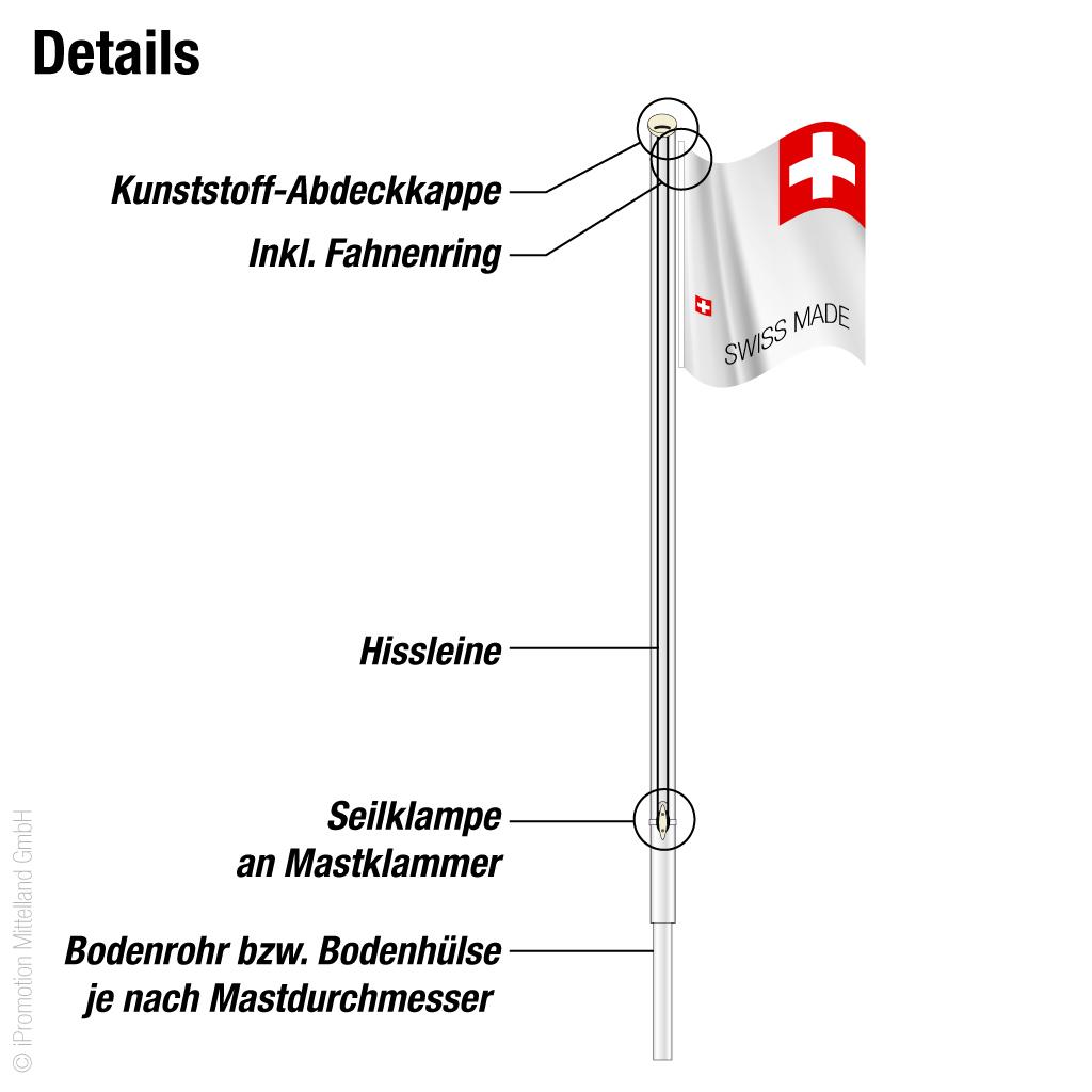 Fahnenstange Standard für Schweizerfahne
